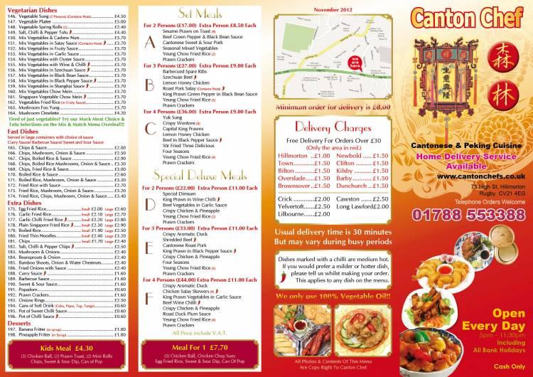 Canton Cafe Takeaway Menu