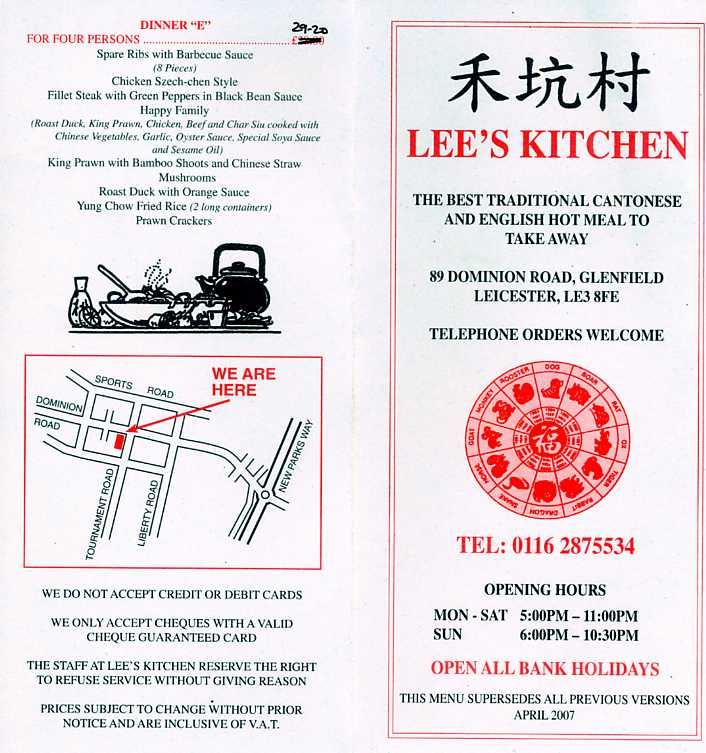 menu image - Lees Kitchen Menu