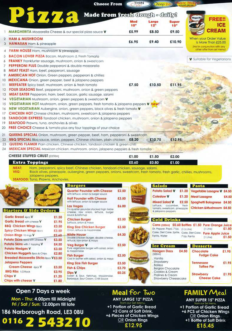 Queens pizza pizza restaurant on narborough rd leicester for Cuisine of india wigston