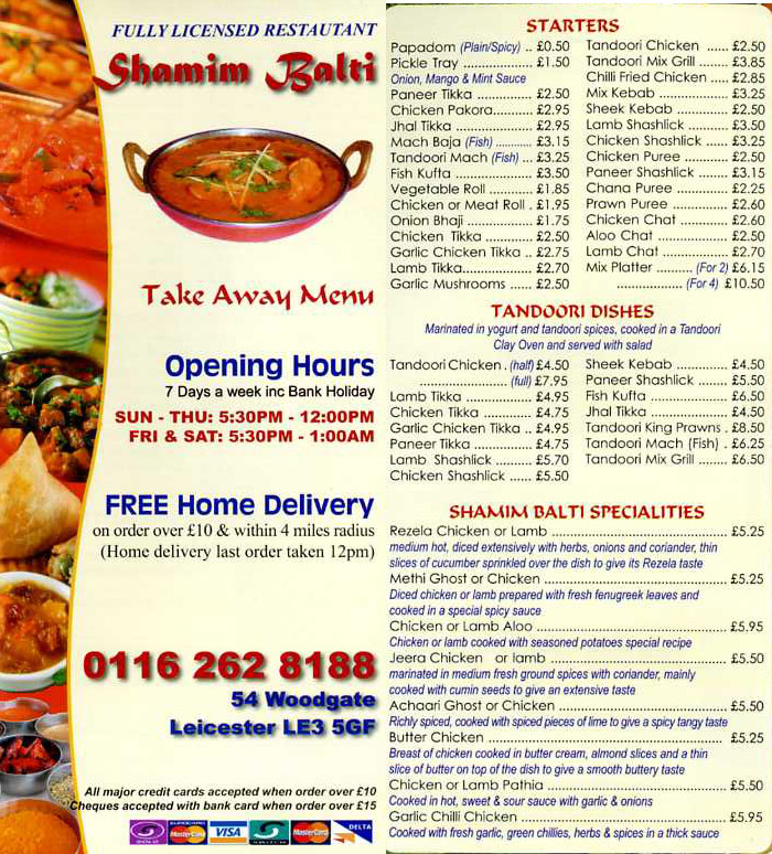 Shamim balti indian takeaway on woodgate leicester for Cuisine of india wigston
