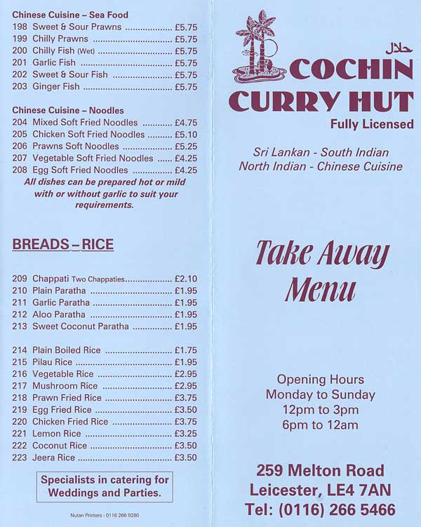Cochin Curry Hut Indian Restaurant On Melton Rd Leicester