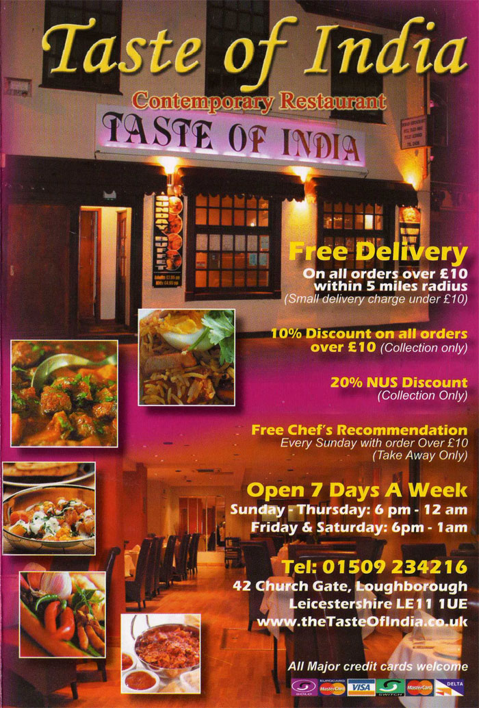 Taste of india indian restaurant on church gate for Cuisine of india wigston