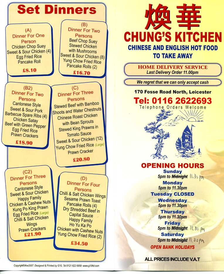 Chinese Kitchen Menu: Chungs Kitchen Chinese Restaurant On Fosse Rd North