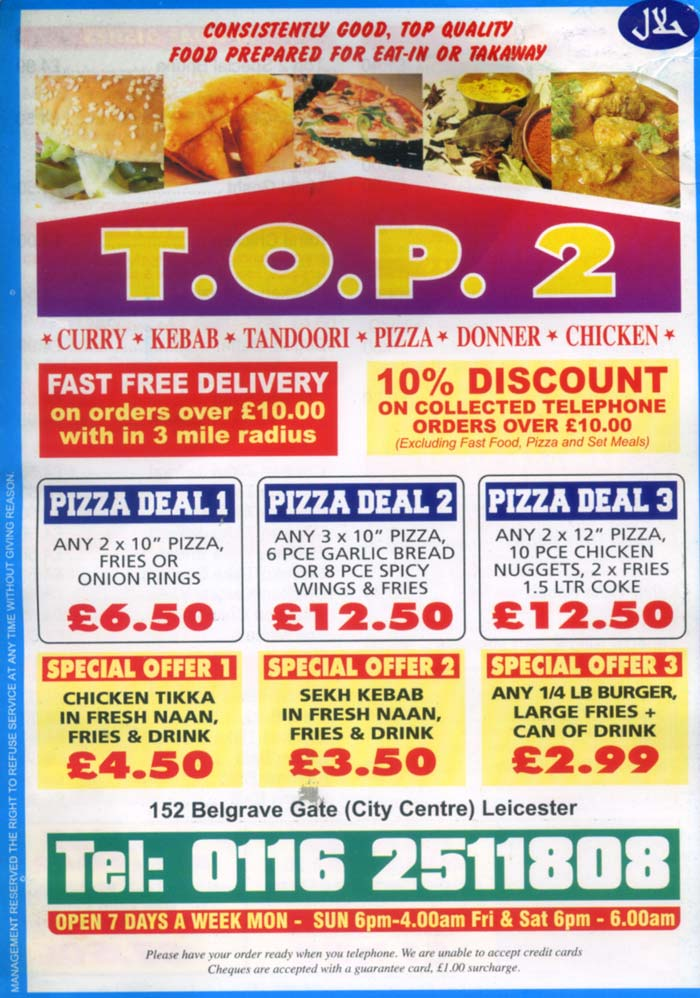 T o p 2 indian restaurant on belgrave gate leicester for Cuisine of india wigston