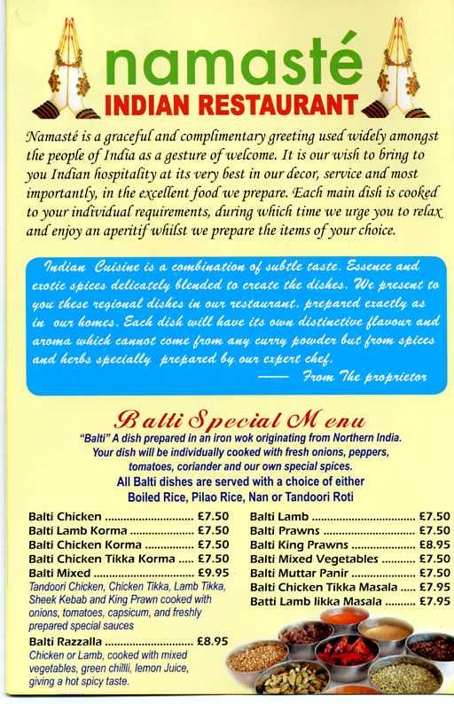 Namaste Indian Restaurant Menu