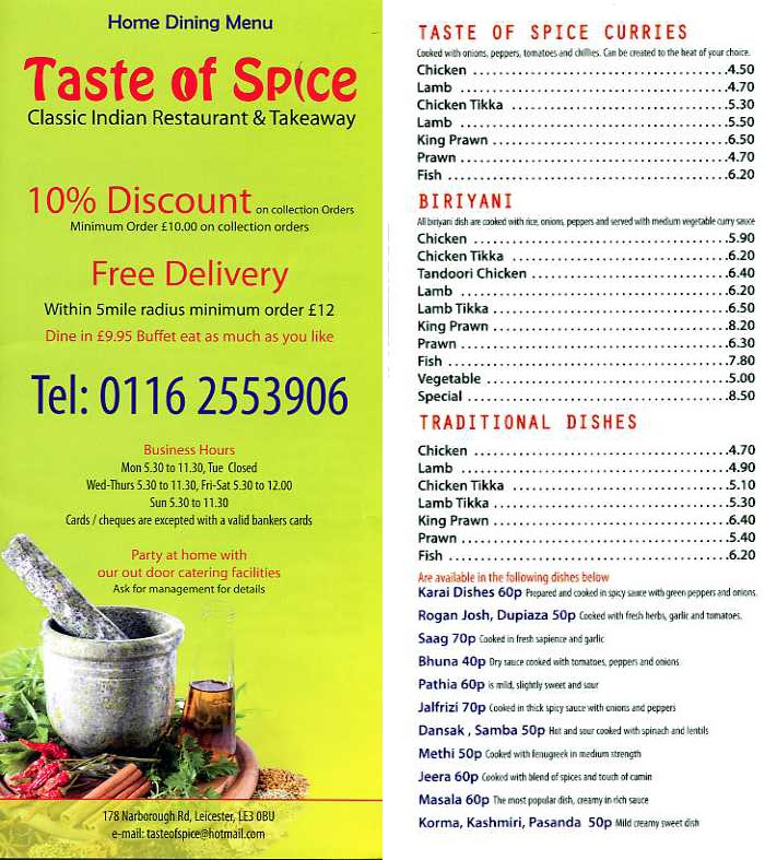 Taste of spice indian restaurant on narborough rd for Cuisine of india wigston