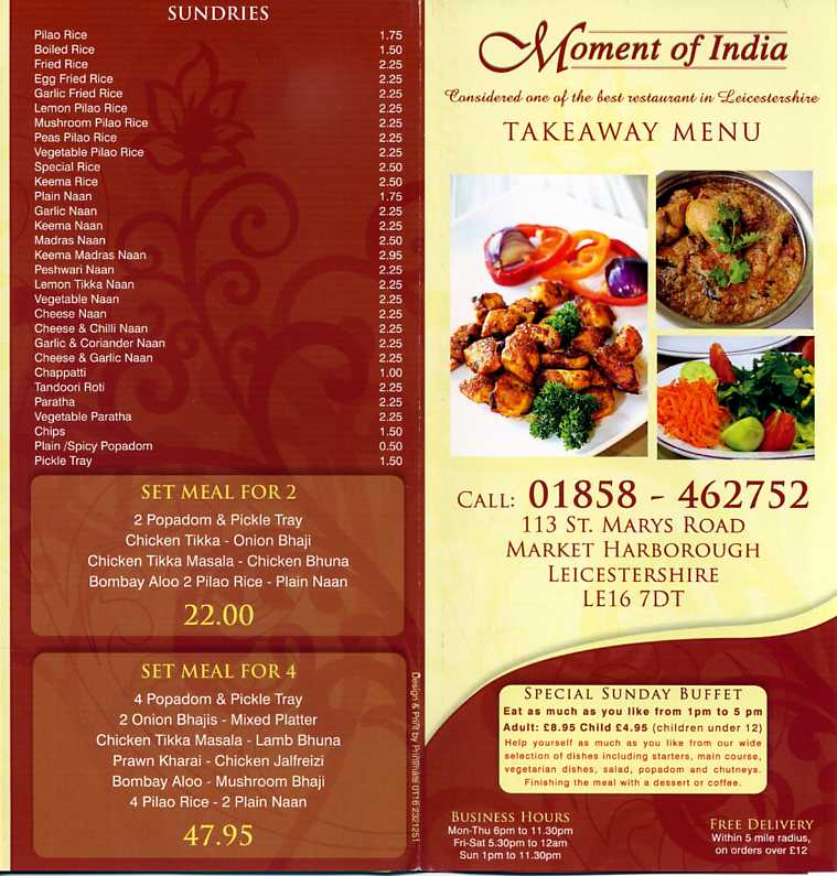 Indian zest indian restaurant on st marys rd market for Cuisine of india wigston