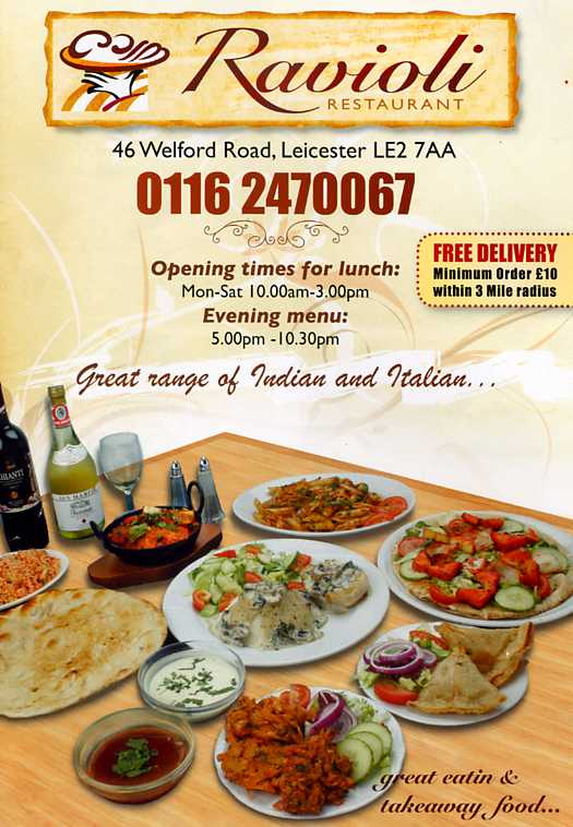 Ravioli italian restaurant on welford rd leicester for Cuisine of india wigston