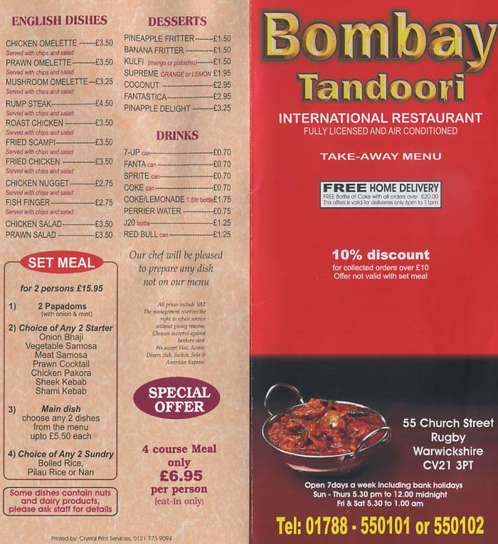 Bombay Tandoori Indian Takeaway On Church St, Rugby