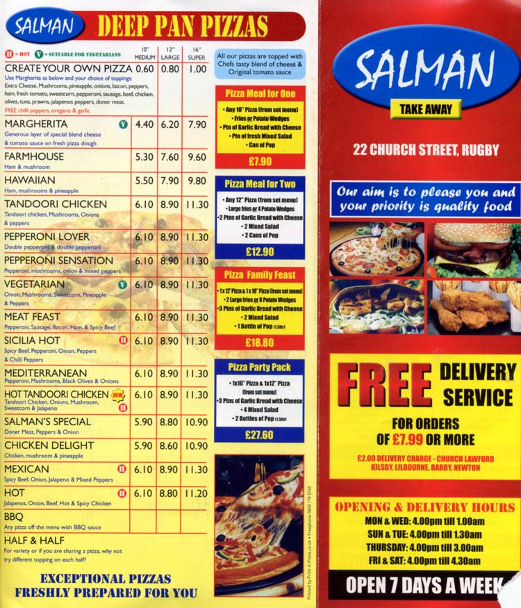Salman Pizza Restaurant On Church, Rugby
