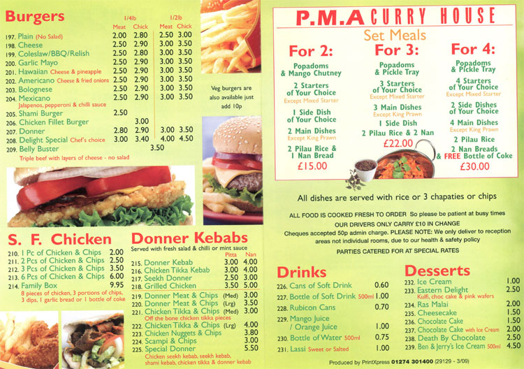 Pma Curry House Indian Restaurant On Alfreton Rd Nottingham