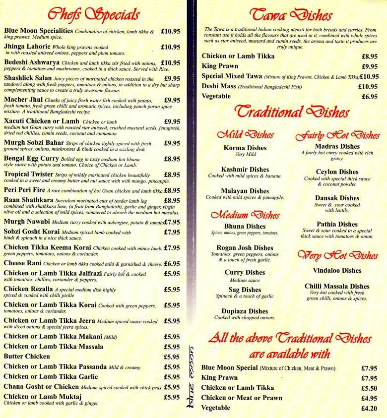 Blue moon balti hut indian restaurant on talbot rd for Blue moon fish company menu