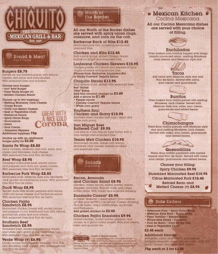 chiquito mexican restaurant on aspects leisure park