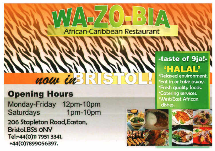 Wazobia Restaurant Co Uk Menu