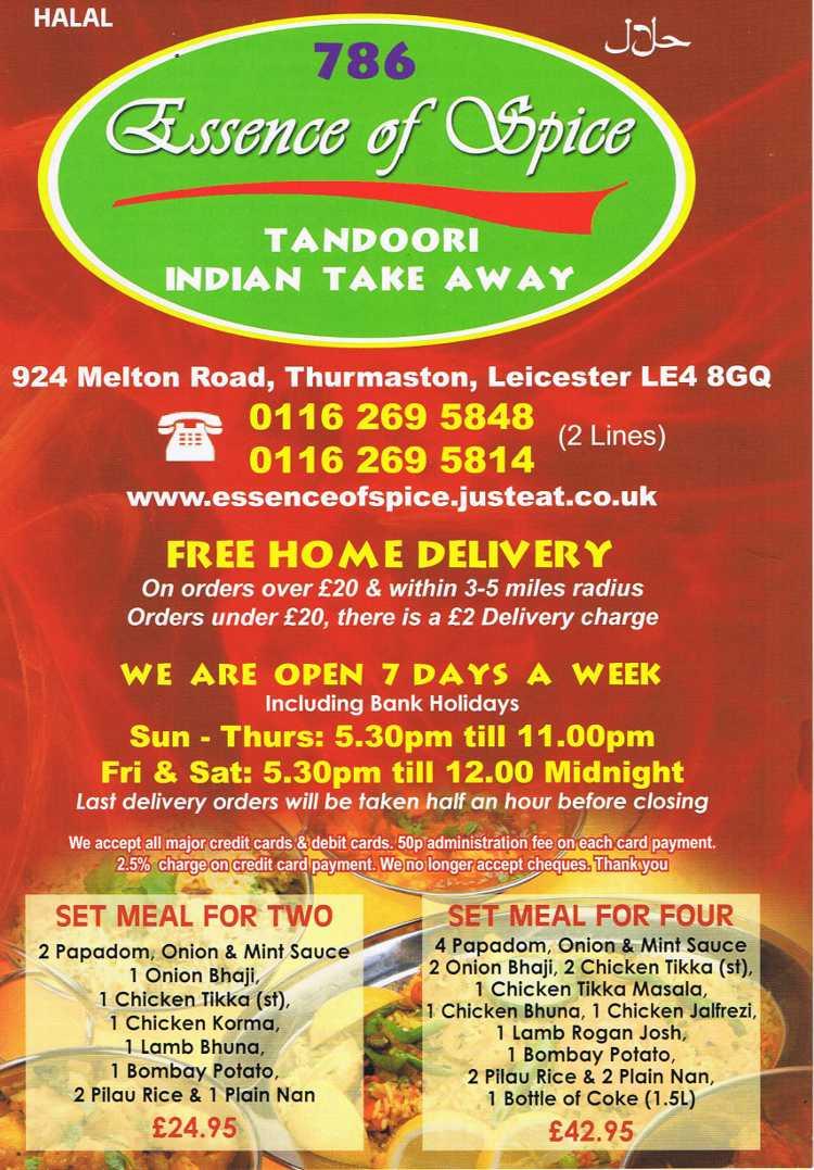 Mehndi Menu Ellesmere Port : Essence of spice indian restaurant on melton road