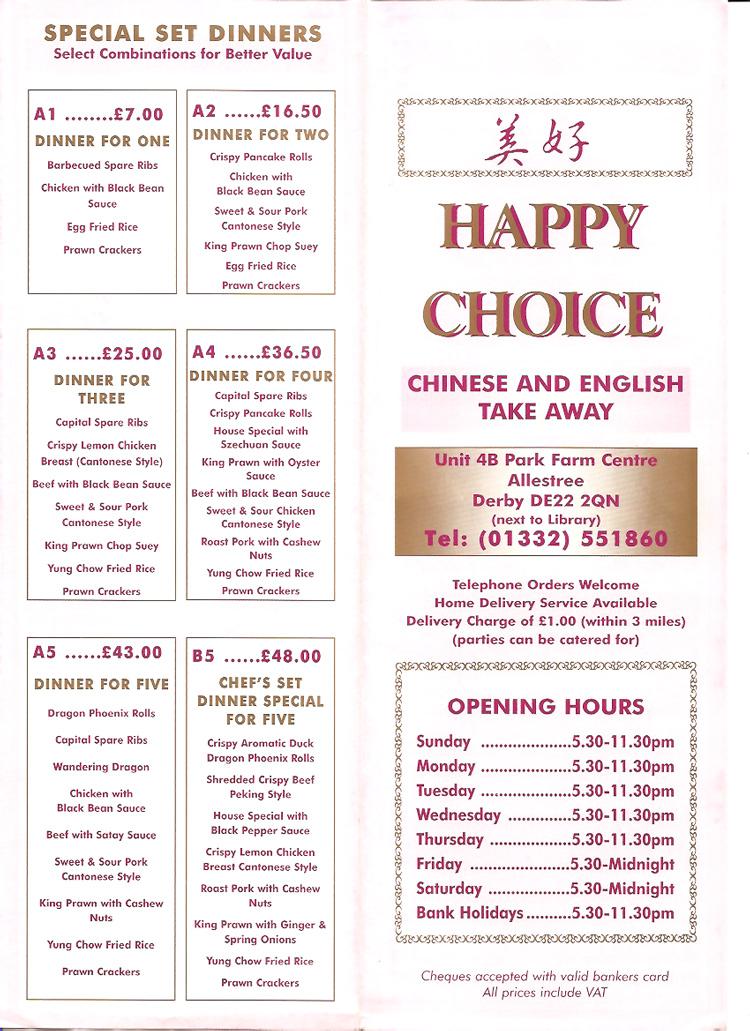 happy choice chinese restaurant on park farm centre derby